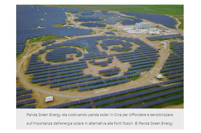 Per diffondere l'energia solare in Cina costruiscono impianti di pannelli fotovoltaici a forma di Panda